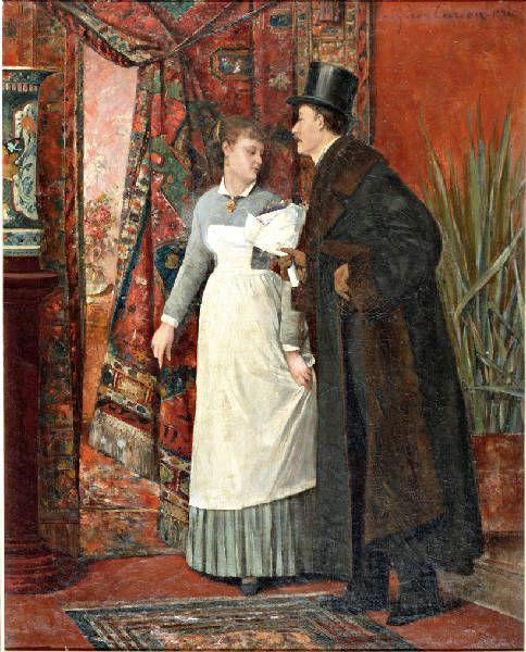 Charles Léon Cardon, Master with flowers and a maid, 1880 Veilinghuis | Den Haag