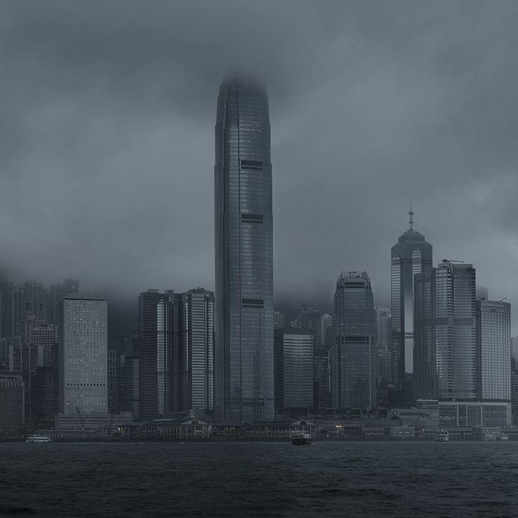 """""""Hong Kong quartier d'affaire"""". Photographie par Cédric Delsaux. Tirage Fine Art Baryté contrecollé sur alu signé, daté et numéroté."""