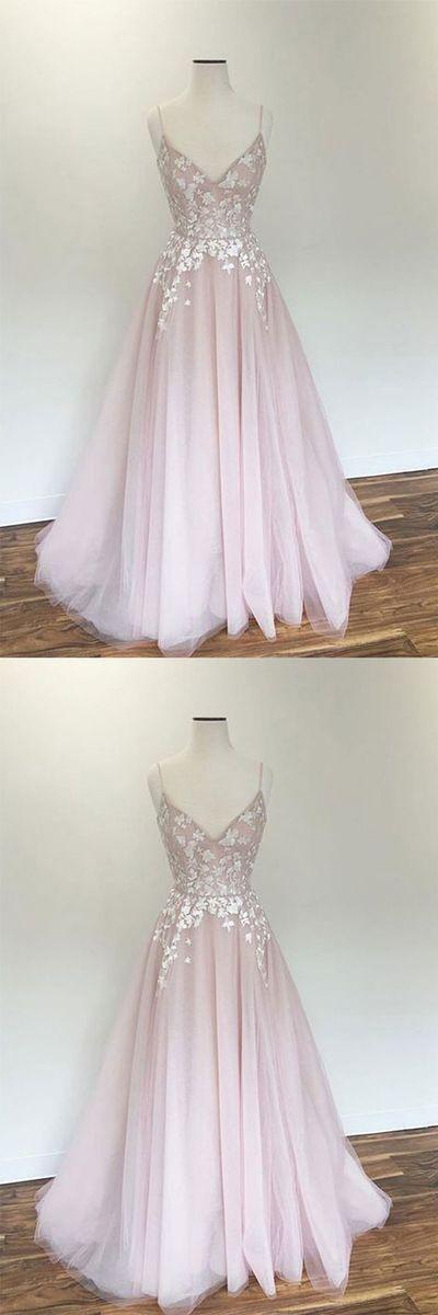 Hellrosa V-Ausschnitt Tüll Applikationen langes Abendkleid, rosa Abendkleid