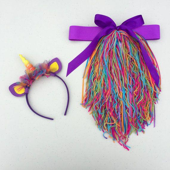 Conjunto arco iris púrpura hilo unicornio diadema y cola con
