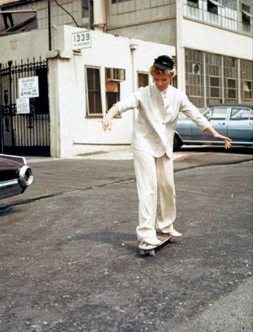 Katherine Hepburn skateboarding