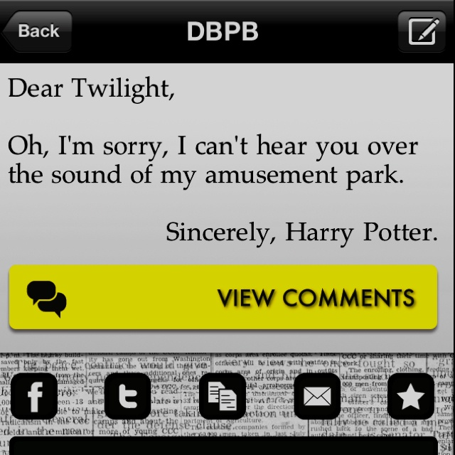 Dear Twilight.....: Funny Things, Harry Potter World, Funny Wunni, Harry Potter Lol, Funny Stuff, Harrypott 3, Harry Potter Twilight, Damn Straight, Things Awesome