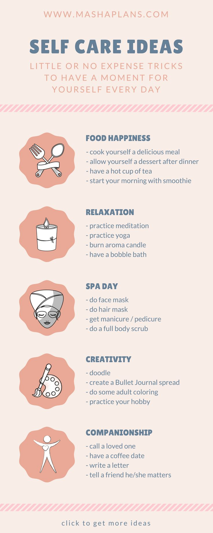 50 ideas for little moments of self care every day click