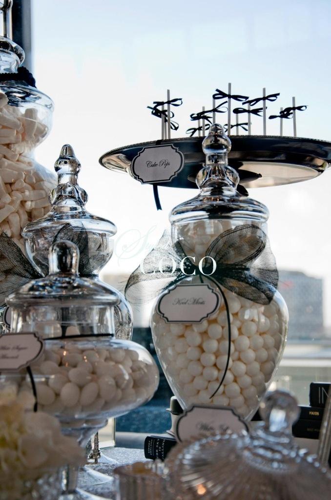 Chanel Black and White Wedding theme. Wedding dessert buffet.