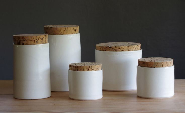 White porcelain with cork straight canisters