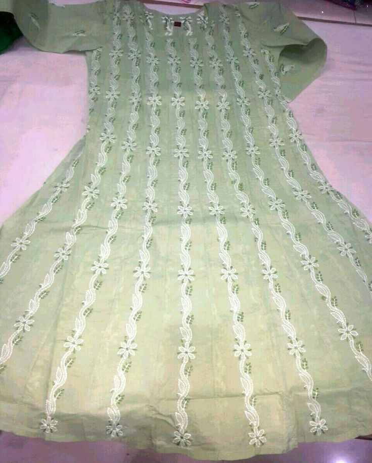 Olive green chikan embroidered long length kurti