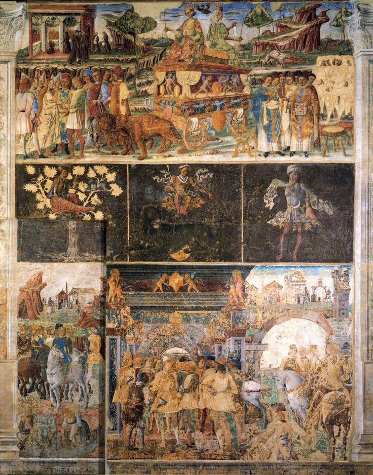 Allegory of July: Triumph of Jupiter 1476-84  Fresco, 500 x 320 cm  Palazzo Schifanoia, Ferrara   The upper scene depicts the Triumph of Jupiter as an allegory of July. To the left is a wedding, and monks at a sanctuary, to the right clerics and knight, and a young man resting can be seen. In the centre the astrological symbol Leo, below Duke Borso receives dignitaries.  The attribution to Tura is debated.