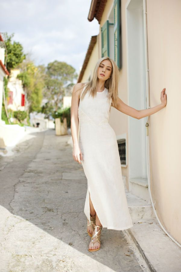 Haris Cotton,Linen Dress with Cotton Lace 1306 Off White