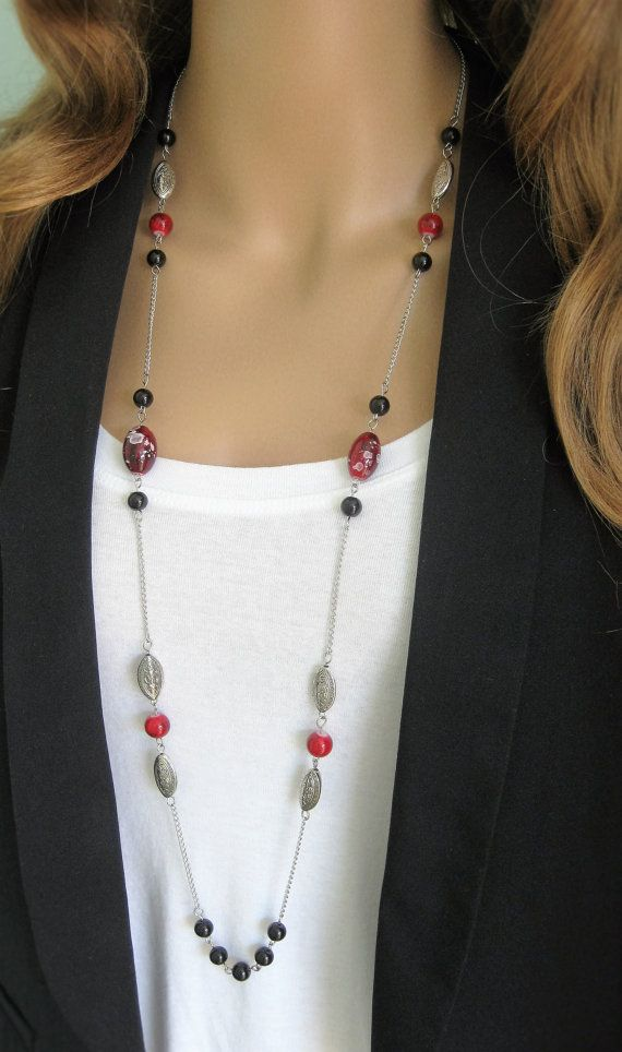 Long Black Beaded Necklace, Red Beaded Necklace, Silver Beaded Necklace, Beaded…