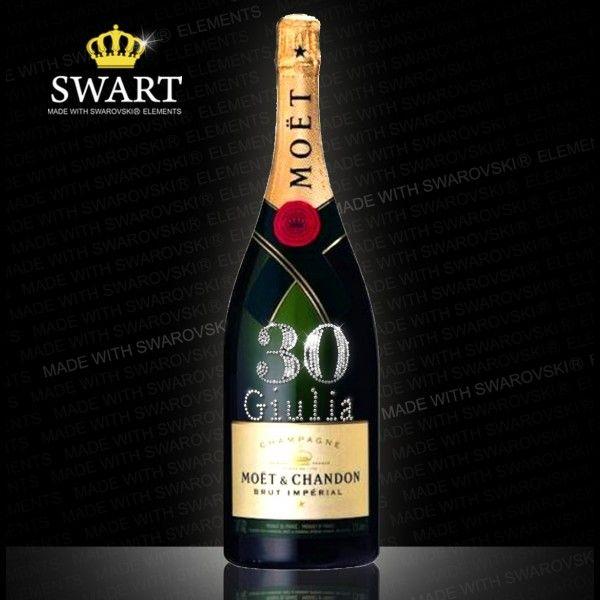 Champagne Moet Magnum da 1,5 litri. Bottiglia personalizzabile con età e nome in swarovski.