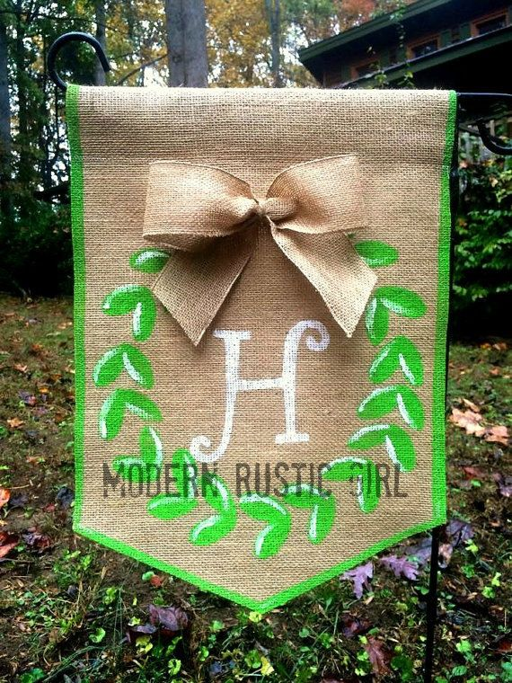 Burlap Garden Flag with Boxwood Wreath bow and by ModernRusticGirl