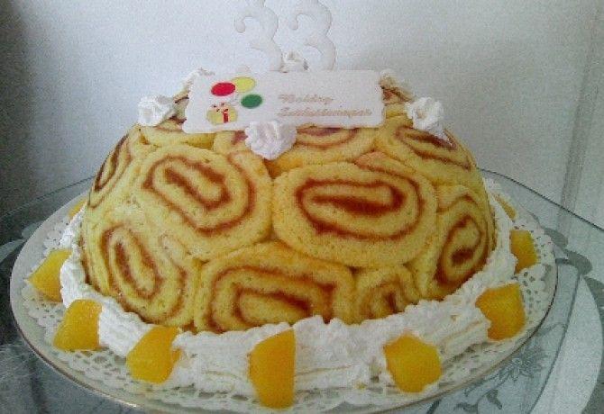 Túrós-barackos Charlotte torta
