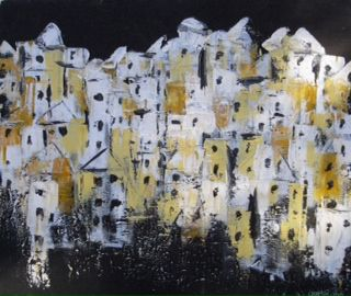 Old Town acrylic canvas Lynne Bishop