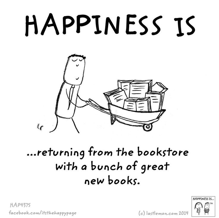 Happiness is returning from the bookstore with a bunch of great new books.