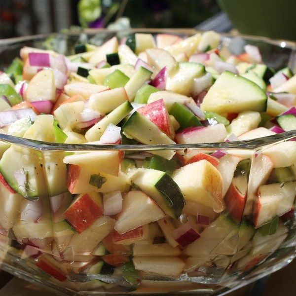 "Apple and Zucchini Salad | ""Fresh-tasting. Colorful. Potluck and picnic-worthy."""