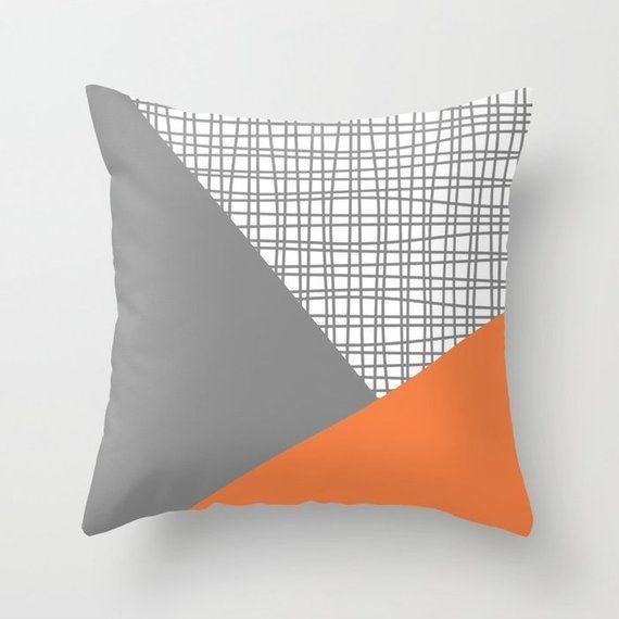 Orange Grey White Throw Pillow Mix And Match Indoor Outdoor Etsy In 2020 White Throw Pillows Pillow Mixing Throw Pillows