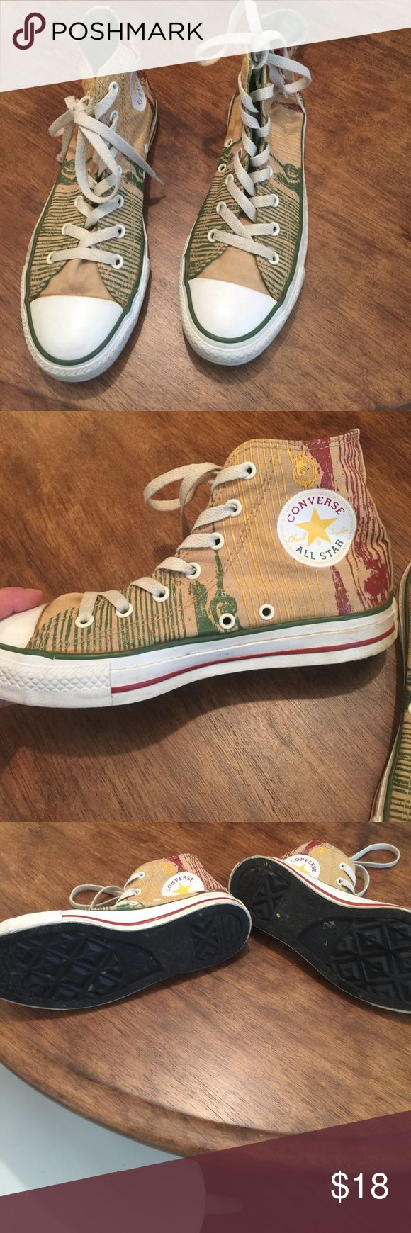 All star converse men's 5 ladies 7 These All Star Converse are high top and are in excellent shape haven't been worn much at all. They have a real fun print to them. Converse Shoes Sneakers