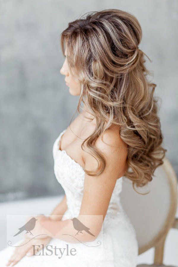 simple half up half down wedding hairstyle - Deer Pearl Flowers