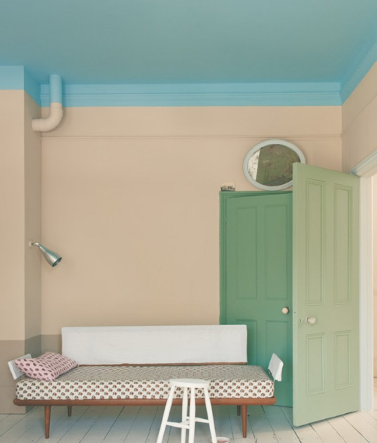Color-blocked interior. Interior colors forecast by paint and wallpaper company, Farrow & Ball.