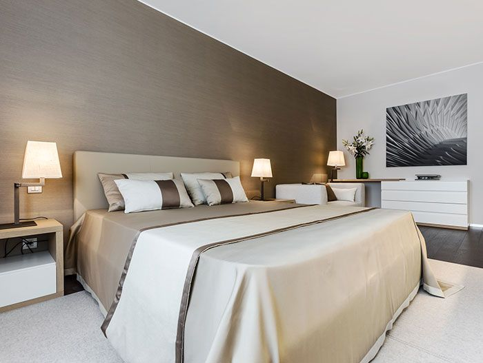 Luxury bedroom in modern and spacious apartment near Monaco, devised as a summer retreat
