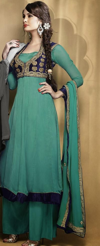 USD 105.53 Green Resham Work Satin Punjabi Salwar Suit 27750