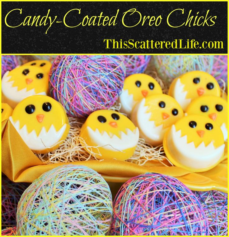 Adorable candy-coated sandwich cookie chicks. Perfect for Easter, baby showers or a fun anytime craft with the kids! ~ ThisScatteredLife.com
