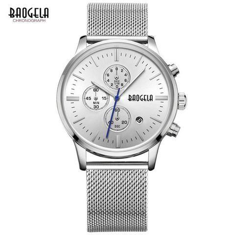 Baogela Chronograph men's quartz-watch stainless steel mesh band – Blueshine Jewellery