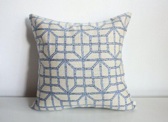 Beige & Blue pillow cover, light blue pillow cover, 16x16 pillow cover, Robert Allen pillow cover, Robert Allen fabric