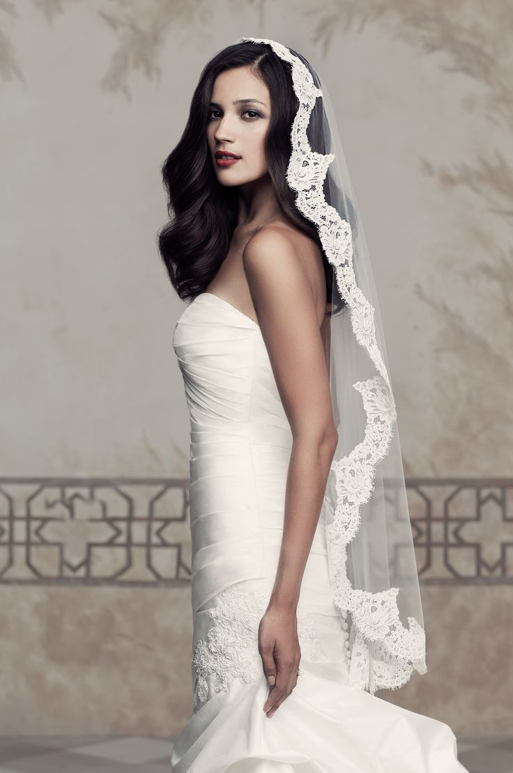 Style * 430 * » Bridal Veils Collection » by Paloma Blanca » Available in One Tier, Mantilla Veil with French Alencon Lace edging ~ Shown Fingertip Veil as Style *V430*.