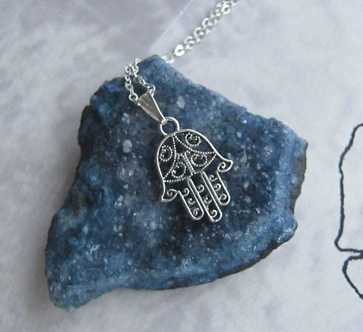 "Hamsa Hand Tibetan Necklace Pendant Handmade Charm Fatima 18"" Chain Small Boho | eBay"