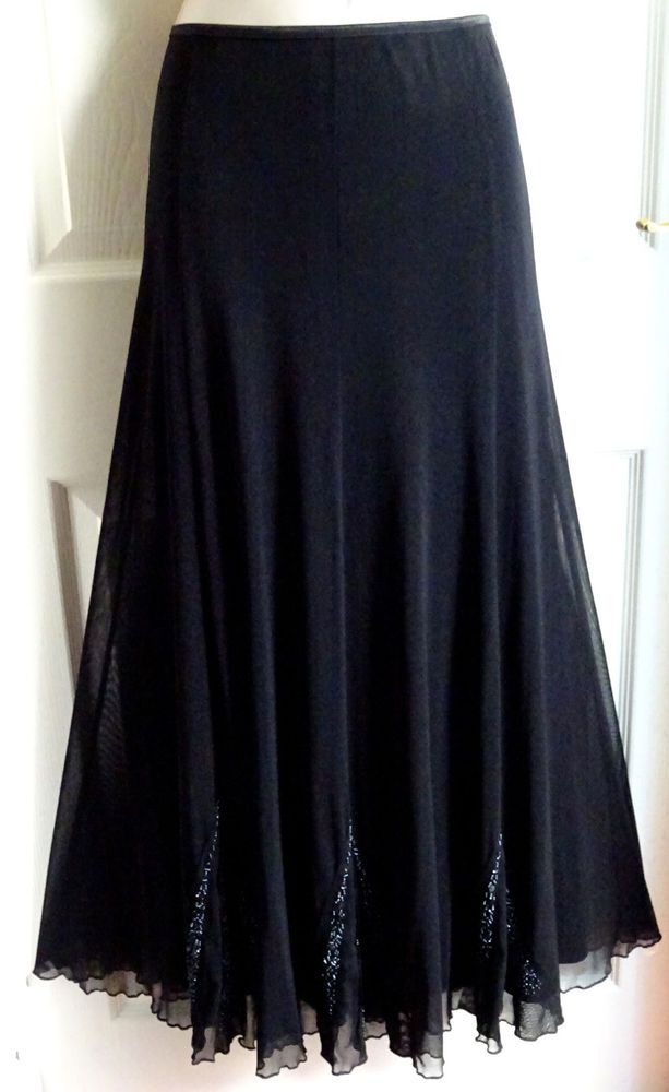 72d8ef254 PER UNA Long Black Beaded Dressy Full Floaty Flowy Evening Maxi Skirt Size  16 #fashion #clothing #shoes #accessories #womensclothing #skirts #ad (ebay  link)
