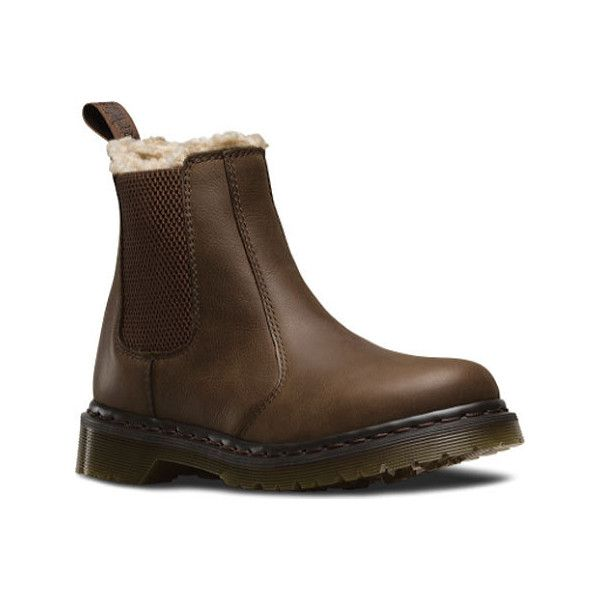 Women's Dr. Martens Leonore Chelsea Boot - Dark Brown Burnished... ($112) ❤ liked on Polyvore featuring shoes, boots, brown, casual, leather boots, brown leather boots, rugged leather boots, brown boots, dark brown shoes and dark brown boots