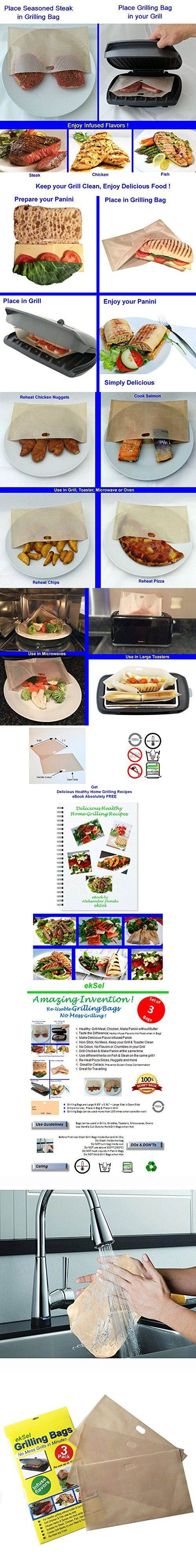 EkSel Non stick Reusable Grilling bags Panini Toaster bags Grill Baking parchment, Beige, Pack of 3, FDA approved