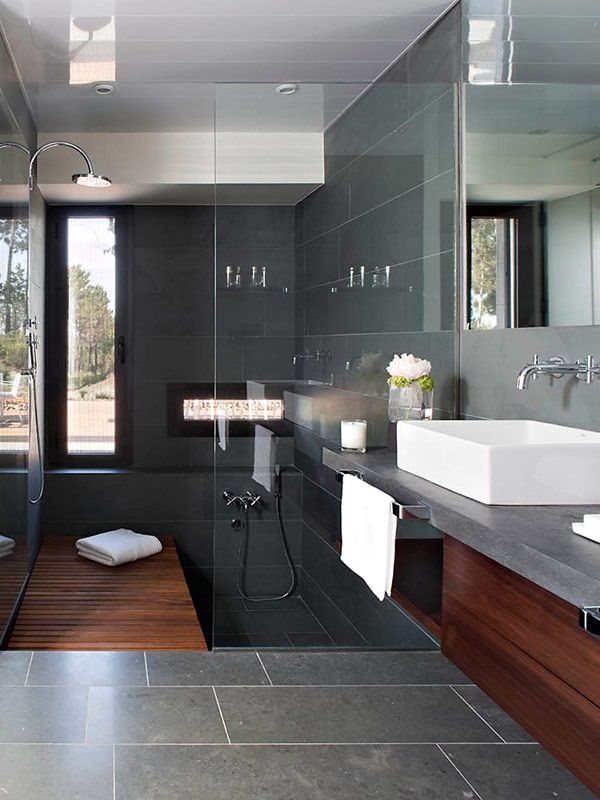 great space saver to have the tub integrated. i would put another piece of teak flooring over the tub to be removed when using the tub to expand the shower space. (because I would forget and fall into the tub)