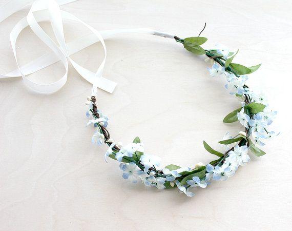 Blue Blossoms Floral Crown. Wedding flower crown, Bridal Crown. Woodland. Rustic. Spring, Flower Girl, Flower Crown, Something Blue