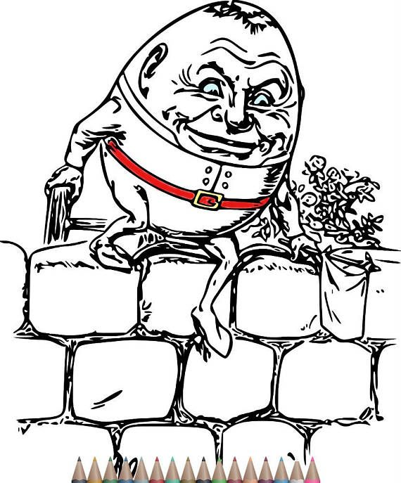 Adult Coloring Pages Humpty Dumpty Art Printable Coloring Pages