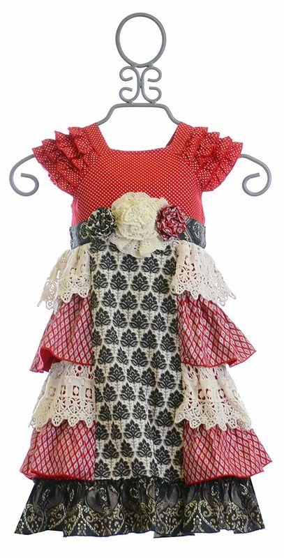Mustard Pie Christmas Dress for Girls Delphine (12Mos,18Mos,24Mos)
