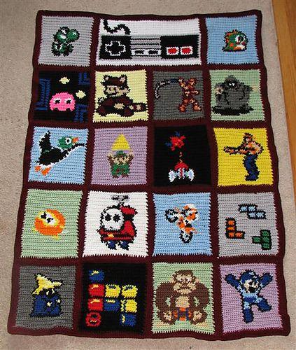 Mario Blanket Crochet Pattern Free : Ravelry: mathnut411s Nintendo Blanket {crochet ...