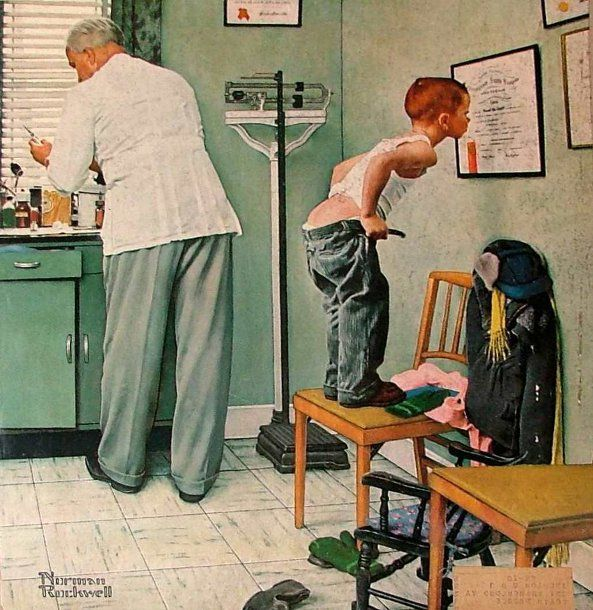 Avant la piqûre - Chez le médecinRockwell Art, Artnorman Rockwell, The Doctors, Art Norman Rockwell, Art Prints, Doctors Offices, Shots, Painting, Normanrockwel
