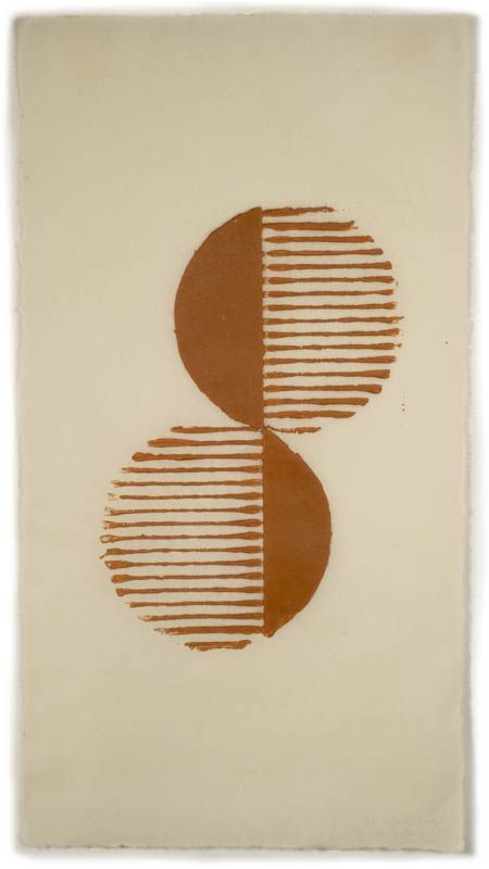 Split Circles , ink on Sansui SH8 paper; image size 10 x 6 3/4 in., paper size 1…