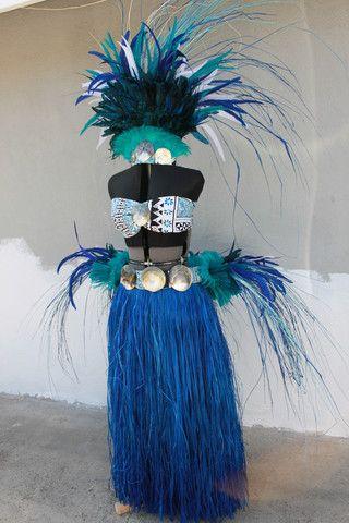 Full Tahitian costume. Tahitian headpiece, skirt, hipbelt