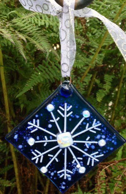 Fused glass Snowflake Christmas Ornament