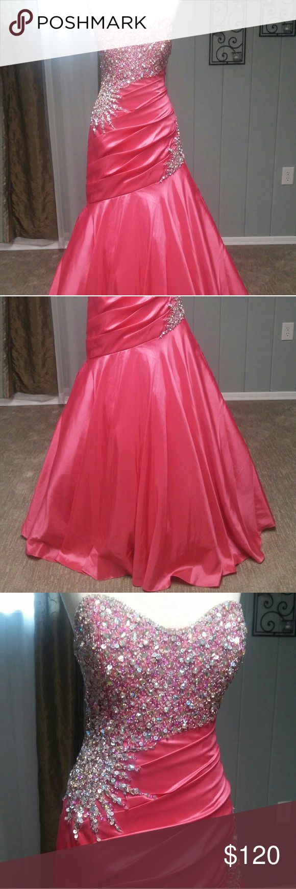 Pink Beaded Mermaid Style Gown | Prom Quinceañera Feel like a princess in this stunning floor length gown pink beaded gown! This would be perfect for any formal party like prom, quinceañera, sweet 16, ect. or a pageant.   - Size 8 - Silky taffeta fabric - Several layers of tooling to make the skirt extra full - Fully lined - Heavily beaded - New - still has original tags and extra beads - No spots or tares  - Floor length with small train - Designer: Tony Bowls - Le Gala - Original ticketed…