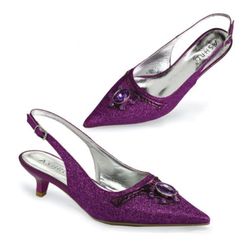 Purple Kitten Heel Shoes - Qu Heel