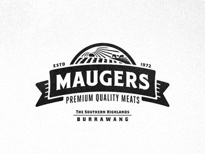 Further exploration for the re-branding of Maugers Meats. Trying out a emblem design that can be split up into only using the banner for stamps on the paper bags. Huge thanks to @Richie for helpi...