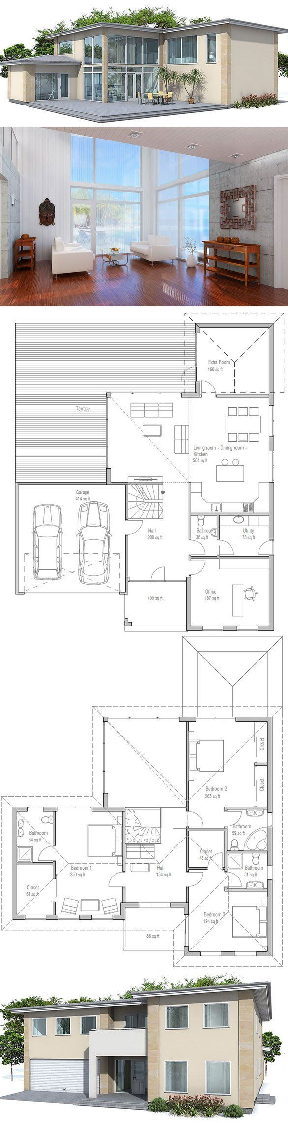 Large modern house plan. Four bedrooms, two living areas, two car garage. Spacious living & dining areas.