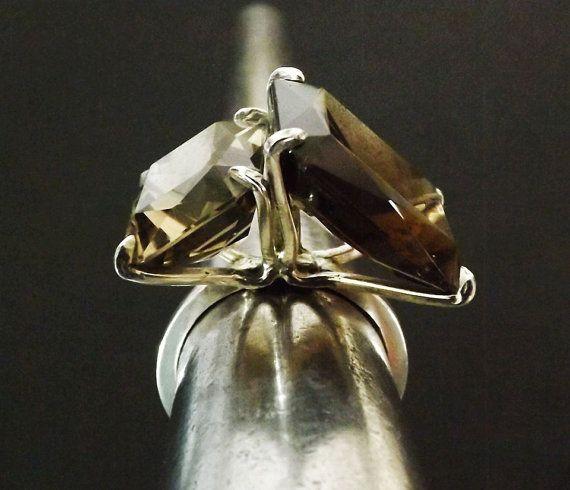 Smokey Quartz Emerald Cut Modern Ring Sterling by BonTonJoyaux