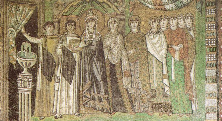 L'imperatrice Teodora ed il suo seguito. Ravenna, chiesa di San Vitale, metà VI sec