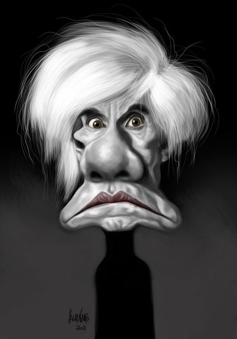 brilliant caricature of Andy Warhol - by Marco Calcinaro