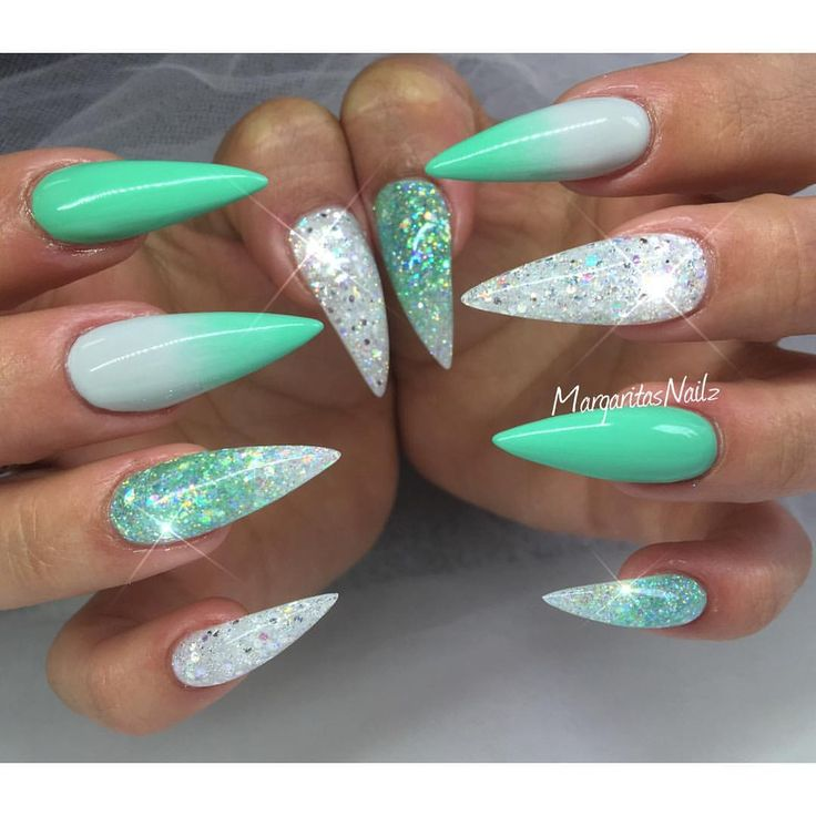 Summer stiletto nails green ombré and glitter design